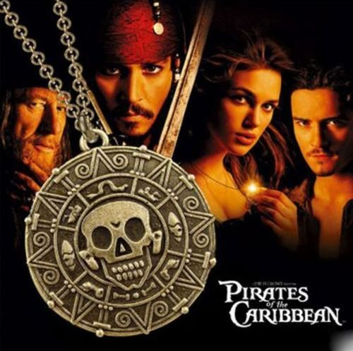 Pirates of the Caribbean Curse of the Aztec Coin Skull Metal Necklace Locket Pendant Cosplay - Bronze