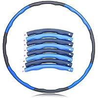 Espuma de acolchado SOUTHSKY azul y gris, 8 seccionesHula Hoop de ejercicio de fitness con un peso de 1 kg, 95 cm de diámetro.