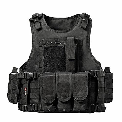 YAKEDA® Army-Fans Tactical Vest Cs Feld Swat Tactical Vest Army-Fans im Freien Weste Cs Spiel Vest Cosplay von Counter Strike Spiel Vest-322 (schwarz) Tac Weste Beutel