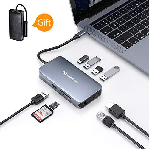 USB-C-HUB, DesertWest 9 in 1 USB Typ C Adapter auf HDMI, Gigabit Ethernet Port, 4 USB 3.0 Ports, USB C Ladeanschluss 90W Power Delivery, SD/Micro SD Kartenleser USB-Type-C-Hub, Grau, MEHRWEG