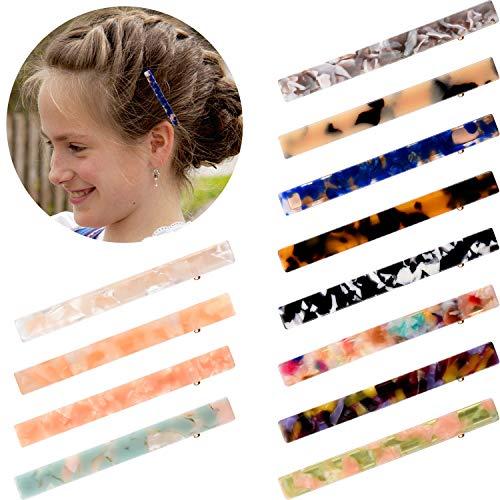 12 Stücke Essigsäure Haarnadel Längliche Haarspangen Krokodilschnabel Clips Marmor Muster Haarspangen für Damen Mädchen Party und Täglichen Gebrauch