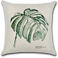 Excelsio - Funda de cojín para sofá, cama, sala de estar, dormitorio, decoración del hogar, cuadrada, de algodón y lino, 45 x 45 cm, flores, color verde