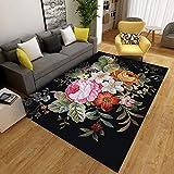 YCMXMY Teppich Kurzflor Modern Trendig Design Farbige Wildlederblumen Wasserfest Vintage Kinder Weich Und Pflegeleicht 200X300Cm