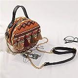 Folk Custom nappa borsa piccola rotonda borsa a tracolla portatile etnico rotondo da donna nappa con borsa a tracolla spiaggia, arancione