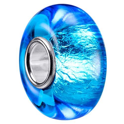 MATERIA Murano cristal Beads Perla Azul Aqua-925plata perla de cristal con purpurina de pantalla para pulsera # 1429