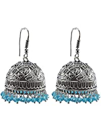 Silvesto India Antiquated Black Metal Jhumki Earrings With Tiny Blue Topaz Crystals PG-121450