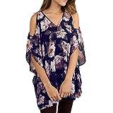 TUDUZ Damen Elegant Große Größen Blumen Gedruckt Chiffon V-Ausschnitt Halbarm Schulterfrei Tops Tunika Hemd Bluse