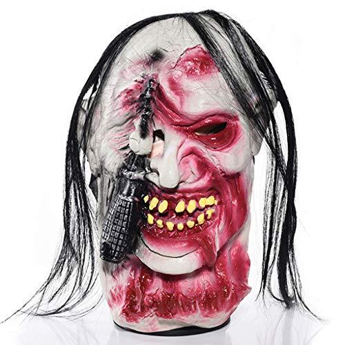 Dlh maschera di halloween, maschera spaventosa, parrucca da gioco per adulti traspirante in lattice, puntelli in costume da festa di halloween,c