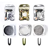 3 Boxen Magie Spiegel Nagel Pulver Glitter DIY Shell Nail art Chrom Pigment Staub Maniküre Dekoration