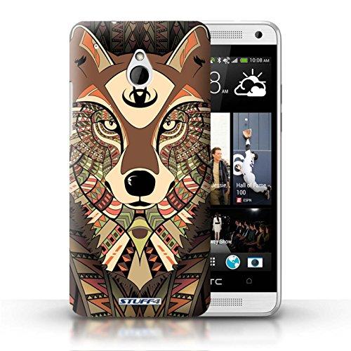 Kobalt® Imprimé Etui / Coque pour HTC One/1 Mini / Loup-Sépia conception / Série Motif Animaux Aztec Loup-Sépia