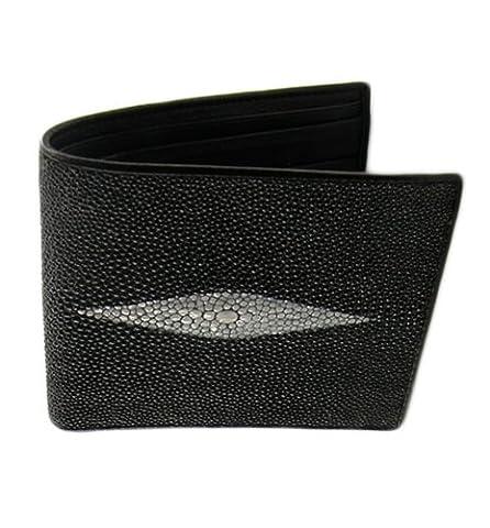 Genuine Stingray Skin Leather Bi-Fold Wallet w/ Left Flap (Black)