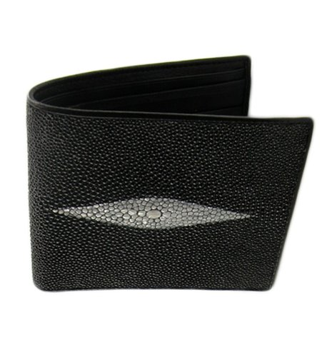 black-trifold-wallet-genuine-stingray-skin-leather