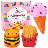 Augshy 3 Pcs Jumbo Squishies Hamburger Fries Ice Cream Slow Rising Squeeze Kawaii Scented Charms Hand Wrist Toys