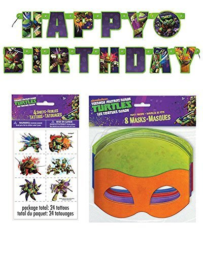 (Teenage Mutant Ninja Turtle Birthday Party Supplies for 16 - 16 Masks, 48 Tattoos, One Birthday Banner by BirthdayExpress)