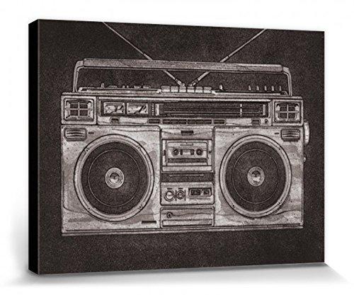 1art1 81336 Radios - Ghetto Blaster, Retro, Barry Goodman Poster Leinwandbild Auf Keilrahmen 80 x 60 cm
