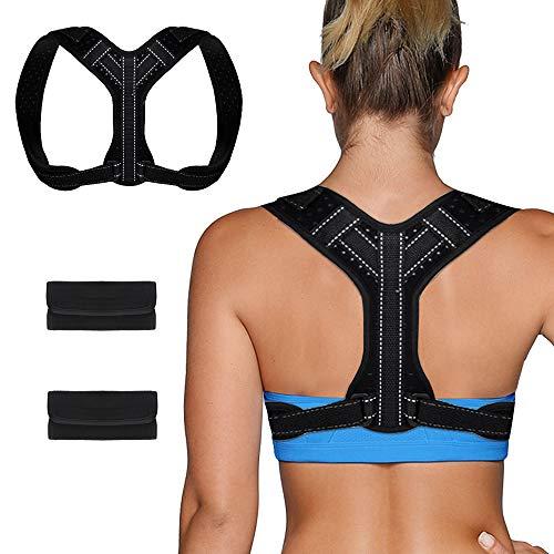 Chengtao Sports Haltungskorrektur Geradehalter Rücken Schulter Gürtel,Schwarz Verstellbar Atmungsaktiv Geradehalter Schultergurt Rückenbandage Haltungstrainer für Damen Herren