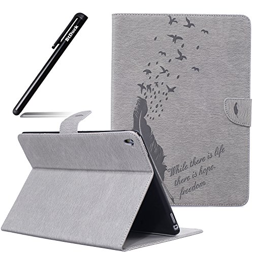 Canna Lily (BtDuck Cover For Apple iPad Pro 9.7 inch,Suitable For College Students Embossed Quill Pen Feather Birdie Retro Notebook Gray Background Solid color Leather Case Practical Fashionable The New 3D PU Leather Magnetic Shell Flip Folio Book Style Version with Built-in Stand and Front / Back Protection Slim-Fit iPad Smart Case Oyster Card ( Travel Card Bus Pass ) Holder Slots Pocket Kickstand Function + 1 * Black Stylus Pen Black)