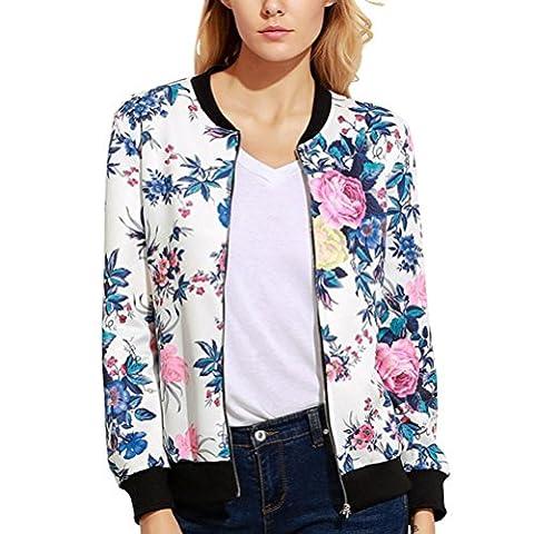 Femme Manteau , Femmes imprimer zip Blazer manteau veste veston blouse (L, Blanc)
