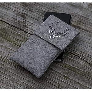 zigbaxx Handyhülle Filz Handytasche WOOD STAR für Sony Xperia XZ3 XZ2 XZ1, XZ Premium, Compact, XA2, XZs, Smartphone-Hülle handmade Wollfilz/Hirsch Strass - pink anthrazit beige grau braun - Geschenk