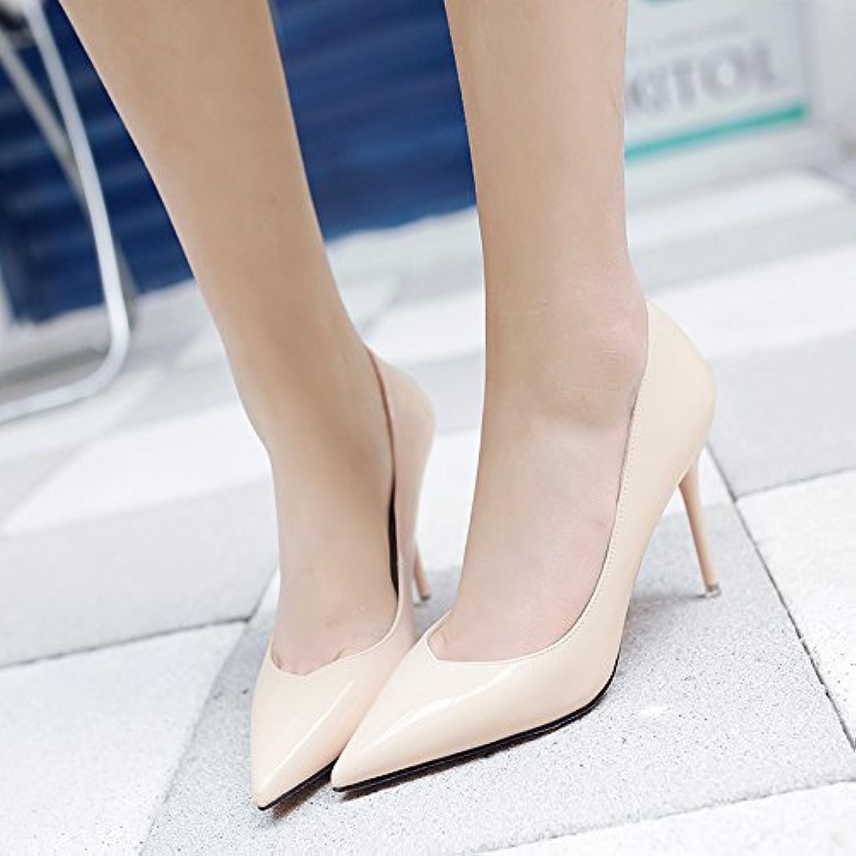 Frühling Sommer und Vielseitige Schwarze Spitzen Schuhe mit hohen Absätzen Mädchen feine professional Schuhö
