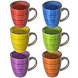 esto24 Design 6er Set Kaffeebecher Porzellan 350ml in tollen Farben für Ihr liebstes Heißgetränk für Kaffee, Cappuccino und Latte Macchiato (Bunt)