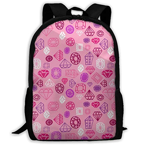 TRFashion Pink Gems Graphic Unisex Custom Backpack School Leisure Sports Book Bags Durable Oxford College Laptop Computer Shoulder Bags Lightweight Travel Daypacks Rucksack (Computer Graphics Gem)