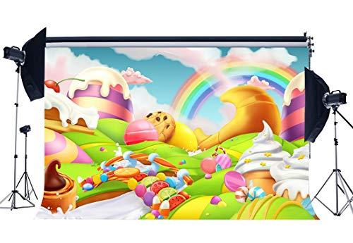 ädchen 1. Geburtstag Party Kulisse Märchen EIS Regenbogen Süßigkeiten Lutscher Obst Fantasie Cartoon Fotografie Hintergrund für Baby Shower Princess Photo Studio Requisiten YX730 ()