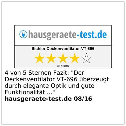 Sichler Haushaltsgeräte Deckenventilator VT-696 mit Holzflügeln und Beleuchtung, Ø 105 cm -