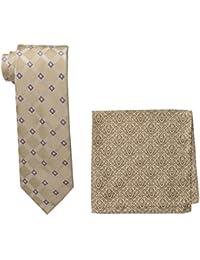 Steve Harvey Men's Tall Extra Long Satin Grid Necktie and Brocade Pocket Square