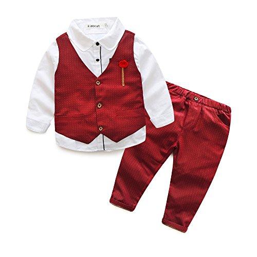 Fanryn 3-teiliges Babykleidungs-Set Babyanzug Jungen Kleider Coat Kleidung Hemd spielanzug+ Weste + Hose Bekleidungsset Kleidung Gentleman Anzug