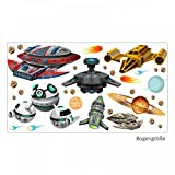 nikima - 022 Wandtattoo Raumschiffe UFO Space Shuttle Planet Weltall Meteorit - in 6 Größen - Coole Kinderzimmer Sticker und Aufkleber süße Wanddeko Wandbild Junge Mädchen Größe 750 x 420 mm