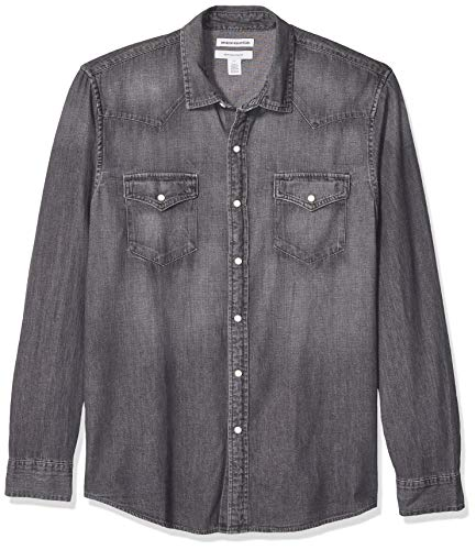 Amazon Essentials - Camisa tejana de manga larga y corte recto para hombre, gris, US S (EU S)