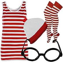 Disfraz con camiseta de rayas para mujer, gorro, gafas, rojo y blanco (diferentes opciones)