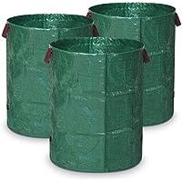 Navaris Set de 3X Sacos Reutilizables para jardín - Resistente Bolsa para residuos con Asas - Saco para desechos de jardín con Capacidad de 272L