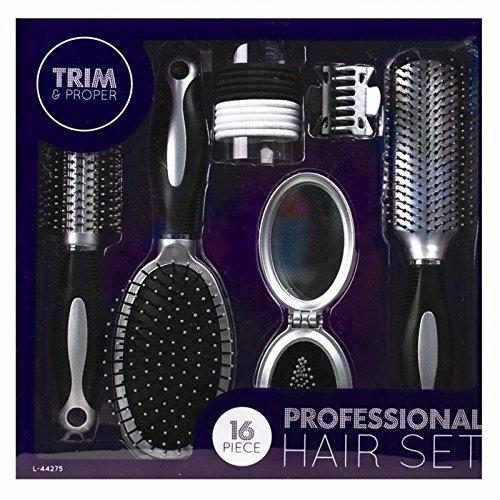 Invero® 16 Pièce Professional Kit Soin Cheveux Gift Set dispose Clips Curling Brosse Paddle Brush Styling Brush Papillon un Compact Brush Miroir et Cheveux Bandes