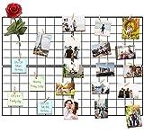 Vencipo Pannello Griglia Filo Muro, Cornice Portafoto Collage per Appendere Foto Wall Décor, Cornici Foto in Metallo Multipla con 12 Foto Clips. (Nero, 80*60cm)