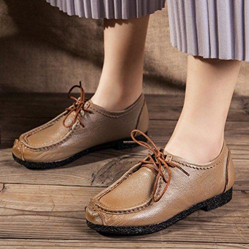 Vogstyle Mocassins Femme Cuir Ballerine Chaussures Plates à Lacets Bateau Derbies Casuel Loisir Style 1 Brun