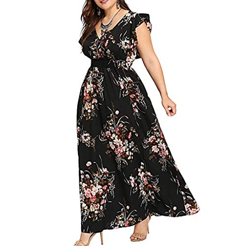 amen Plus Size Sommer V-Ausschnitt Blumendruck Boho Sleeveless Party Maxi-Kleid Retro Schwarz L ()