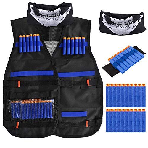 Kids Tactical Weste Kit - Kids Elite Tactical Weste Kit Foam Kugeln für Nerf N-Streik Elite Series mit 20 weichem Schaumstoff-Darts-Aufzählungszeichen, 1 Stück 8-Dart-Armband, 1 PC-Gesichtsmaske (A)