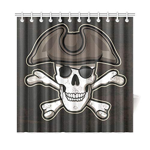 Jeolvp home decor tenda da bagno scary pirati teschi e bandiere free vector tessuto in poliestere impermeabile tenda da doccia per bagno, 72 x 72 pollici tende da doccia ganci inclusi