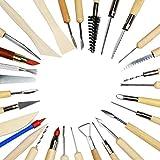 Herramientas de Cerámica, BELLESTYLE 30 Piezas Madera Arcilla Escultura Tallado Herramientas Cerámico Oficio del arte, Incluye Modeladora de color de arcilla, Herramientas de modelado y Cuchillo de escultura de madera