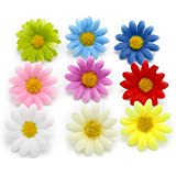 Yalulu 100 Stück Kunstblumen Gerbera Blumen Koepfe Sonnenblume Fuer DIY Hochzeit