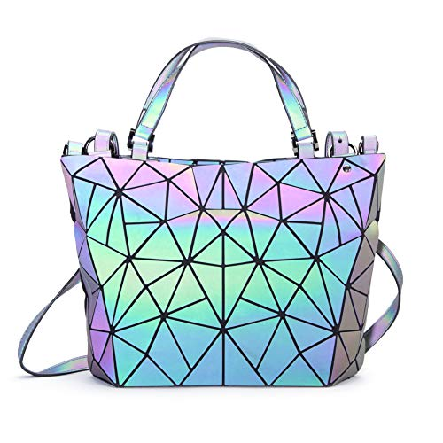 Geometric Holographic Handbag Unique Iridescent Colour Changing Chic 2018  Quirky Ladies Purse Unusual Different Great Gift 9884260950bae