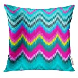 Cupsbags Throw Pillow Cover Pink Ethnic Colorful Chevron Tradition Stylish for and Zig Zag Ikat Blue Bright Dye Decorative Pillow Case Home Decor Square 18x18 Inches Pillowcase