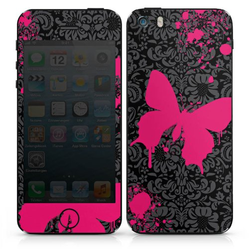 Apple iPhone 4 Case Skin Sticker aus Vinyl-Folie Aufkleber Schmetterling Butterfly Pink DesignSkins® glänzend