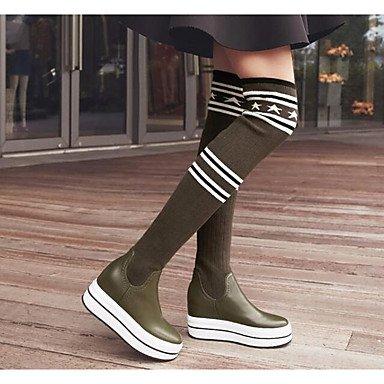 e0a7949def2f19 Rtry Femmes Chaussures Peau De Vache Automne Hiver Confort Bottes De Neige  Sur Les Genoux Bottes