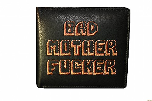 Bad Mother Fucker wallet - Embroidered 100% real leather wallet in Black