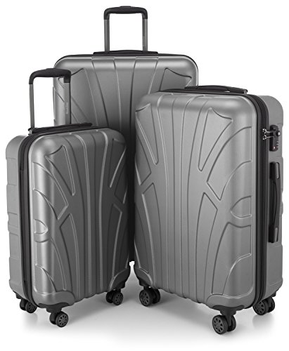 SUITLINE - 3er Koffer-Set Trolley-Set Rollkoffer Hartschalen-Koffer Reisekoffer, TSA, (S, M & L), Silber