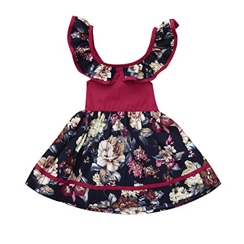 Mädchen Sommer-Kleinkind-Baby ärmelloses Blumendruck-rückenfreies Kleid Kleider rinzessin Brautkleider Brautjungfern Kinder festlich Partykleid Festzug Kleid Ballkleid Abendkleid Kommunionkleider