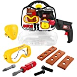 Baby Kids Tool Set, Toy Chois 12 PCS STEM Pretend Play Construction Tools Toy Set In Sturdy Case
